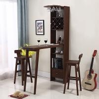 酒柜带伸缩吧台 美式家用吧台桌小客厅玄关隔断柜靠墙厨房实木吧台酒柜简约现代 组装