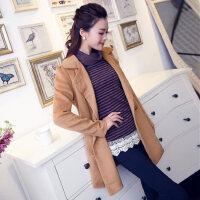 新款韩版大码时尚休闲女装呢大衣中长款修身毛呢外套
