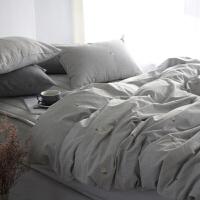 刺绣小雏菊水洗棉三件套四件套秋冬全棉2.0m床双人1.8床床品 灰色水洗棉绣花定制