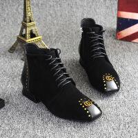 17秋冬新款短靴马丁靴欧美方头侧拉链低跟方跟女靴真皮切尔西靴女 绒里(二棉)