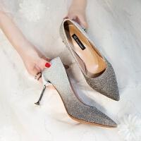尖头高跟鞋细跟时尚2018秋新款性感浅口单鞋女韩版公主水晶婚鞋女