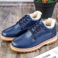 百搭潮流男鞋耐磨2018冬季新款男士加绒皮鞋休闲保暖加厚棉鞋