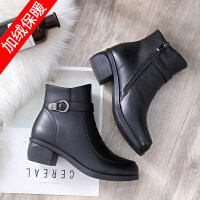 妈妈鞋棉鞋秋冬季新款女鞋中老年人加绒保暖软底防滑皮鞋中年短靴