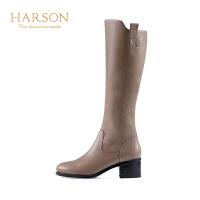 【秋冬新款 限时1折起】哈森 冬季牛皮革骑士靴女皮靴 粗高跟高筒HA87176