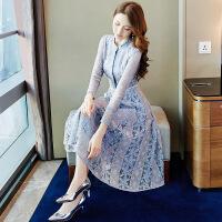 蕾丝连衣裙2019春装新款女名媛气质修身显瘦法国小众复古裙子夏季 蓝灰