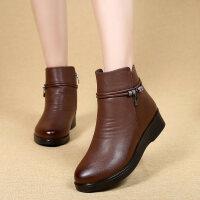 棉鞋女冬短靴妈妈平底防滑中年女士皮鞋加绒保暖棉靴中老年女靴