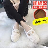 豆豆鞋女2018新款网红冬季女鞋韩版百搭加绒棉鞋一脚蹬外穿毛毛