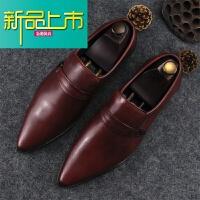 新品上市新款英伦商务正装真皮皮鞋尖头套脚头层牛皮男鞋韩版个性潮流单鞋