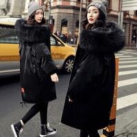 黑色羽绒服女中长款2018新款韩版冬季超大毛领亮面过膝大码