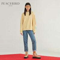 黄色套头圆领卫衣2019新款女长袖韩版宽松纯色chic基础上衣太平鸟