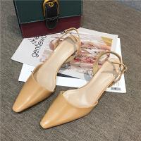 包头凉鞋女高跟鞋风透明粗跟一字带尖头浅口性感尖头春季单鞋