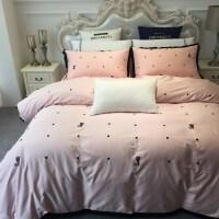 床上四件套棉1.5m 1.8m 床上用品简约60支长绒棉刺绣棉床单Z 2.0m床 被套220x240cm