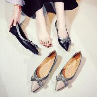 尖头单鞋女蝴蝶结内增高2018秋季新款百搭韩版浅口夏季上班平底鞋