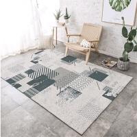 简约现代家用地毯ins客厅茶几沙发大地垫薄卧室床边地毯几何 乳白色 DD122-1 200*300CM 送门垫