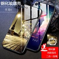 苹果6手机壳 iphone6S保护套 苹果iPhone6/6s钢化玻璃软壳镜面个性潮网红男女彩绘保护壳