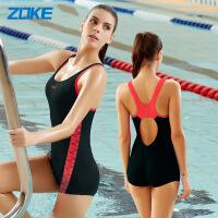 ZOKE连体泳衣女士保守遮肚平角大码游泳衣 显瘦小胸聚拢新款115501421A