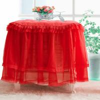 欧式婚庆红粉色立体蕾丝夹棉布盖巾床头柜茶几防尘罩q 红色 唯美大红 47*57