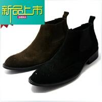 新品上市靴商务镂空雕花牛皮马丁靴高帮靴短靴真皮英伦潮男靴