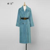 明星同款冬季女装2019新款蓝色中长款皮草外套显瘦女士毛毛大衣 孔雀蓝(5-7天发货)