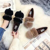 毛毛鞋女秋冬季兔毛鞋新款厚底外穿女平底加绒棉豆豆鞋大码41-43