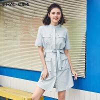 艾莱依2019夏季新款简约工装风衬衫连衣裙女修身收腰裙601828121