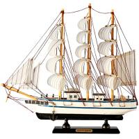一帆风顺装饰工艺船礼物 实木质帆船模型摆件 地中海仿真小木船