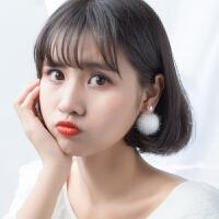 女甜美贝珠珍珠毛毛球耳环气质耳饰品s925银耳环