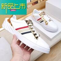 新品上市男鞋18秋季新款真皮美杜莎休闲板鞋系带韩版男士小白鞋潮