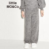 littlemoco新品女童裤子保暖羊毛料松紧腰微厚休闲裤秋冬长裤