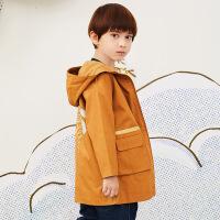 【2件3折价:209.7元】马拉丁童装男大童外套春装2020年新款黄色连帽中长款风衣外套
