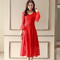 秋装结婚晚红色礼服裙女孕妇新款端庄大气敬酒服新娘回门服宴会