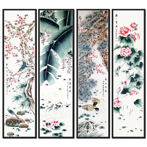 山东省美协会员、工笔画协会会员 陈景芝《鸟语花香四条屏》