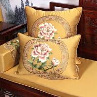 中式红实木家具坐垫中国风实木沙发垫套防滑四季罗汉床垫可拆洗k 金黄色 国色天香