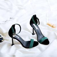 女夏季新款韩版10cm高跟鞋子性感细跟黑色一字扣露趾凉鞋