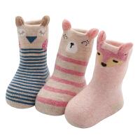 婴儿袜子秋冬加厚保暖1岁宝宝0-3新生儿加绒毛巾冬季长筒棉袜