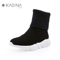 卡迪娜冬季款羊绒/毛线筒拼接厚底休闲女短靴KLA83507