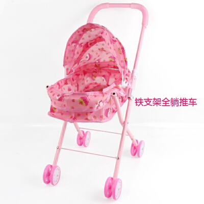 儿童推车玩具娃娃女童女孩过家家玩具手推车婴儿宝宝学步车小推车 红色 加厚全躺推车 多买优惠