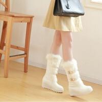保暖冬靴松糕厚底中靴女冬季加厚雪地棉靴加绒冬鞋白色中筒靴子