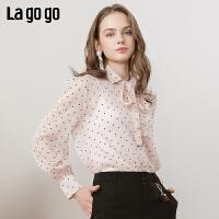 【清仓5折价270】Lagogo/拉谷谷2019年春季新款淑女风衬衫两件套IACC40ZG51