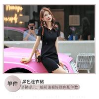 连衣裙女夏2019新款韩版时尚气质职业正装工作服黑色短袖V领裙子