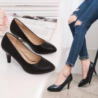 职业高跟鞋女黑色正装学生礼仪细跟上班女士单鞋中跟5-7cm皮工鞋