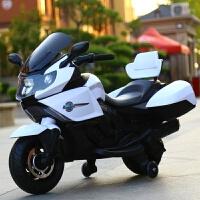 婴儿童电动车摩托车三轮车可坐小孩1-3童车4-5岁宝宝玩具车可坐人 白色12伏电瓶+独立灯光+早教转把