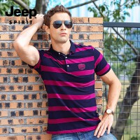 吉普男装JEEP春夏短袖t恤男 翻领polo衫 商务舒适休闲条纹半袖打底衫