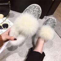 2018冬季简约新款韩版个性时尚百搭亮片狐狸毛毛保暖低跟雪地靴