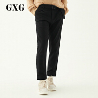 【GXG过年不打烊】GXG男装 冬季男士韩版潮流时尚青年侧边织带黑色休闲长裤男