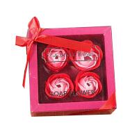 创意手工制作4朵 仿 真玫瑰香皂花礼盒 情人节礼品