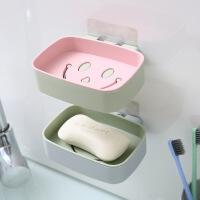 【2个装】泰蜜熊颜色随机发免打孔笑脸双层肥皂盒无痕贴吸壁式沥水香皂盒浴室肥皂置物架