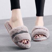 秋冬季居家可爱室内棉拖鞋女外穿毛绒一字开口毛毛