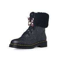 爱旅儿女鞋可拆卸蝴蝶米奇低跟马丁靴帅气短靴EA68231
