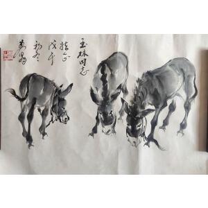 黄胄_经典国画作品_毛驴三只_36-53_纸本_9000